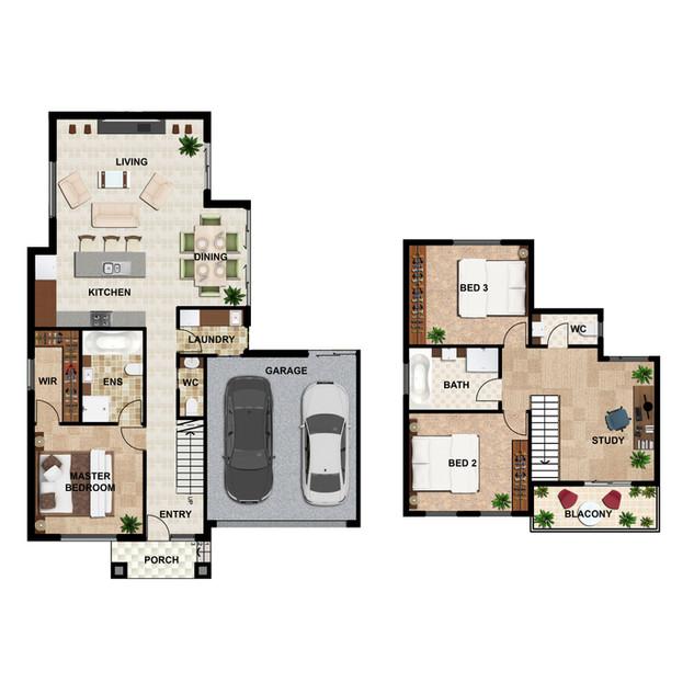 2D colour floor plan Unit1 for a development project - Burwood East Victoria