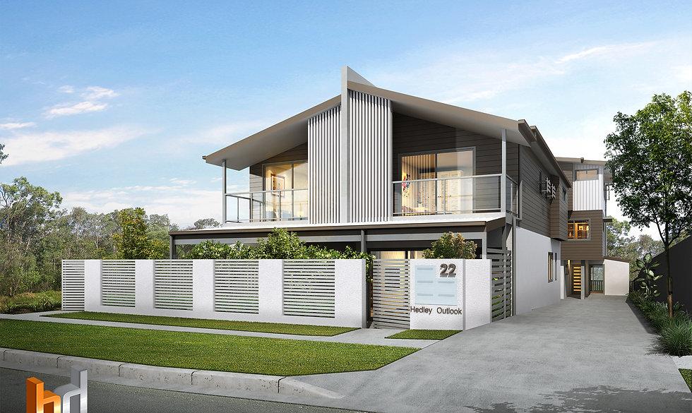 3D Rendering Brisbane street frnt 4 townhouse project by Budde Design