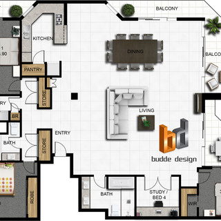 2D colour floor plan for an apartment renovation joining 2 apartments