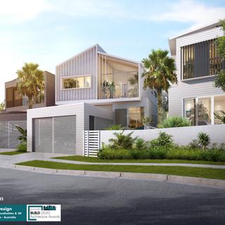 3D Artist Impression 3 townhouse Development, Mermaid Waters, Gold Coast QLD