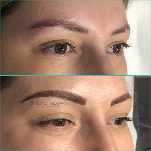 Combination eyebrow cosmetic tattoo