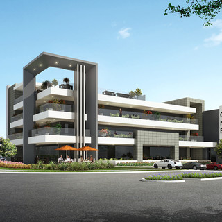 3D external Commercial render of a propsed Oxenford Commercial Precinct - Oxenford QLD