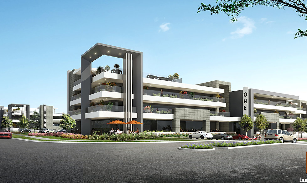 3D external Artist Impression Gold Coast Commercial render of a propsed Oxenford Commercial Precinct - Oxenford QLD