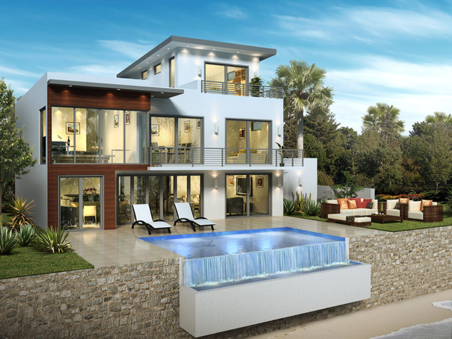 3D Artist Impression, 3D Architectural Rendering Rear - Cayman Islands