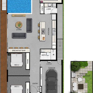 2D colour floor plan - marketing floor plan for a building company