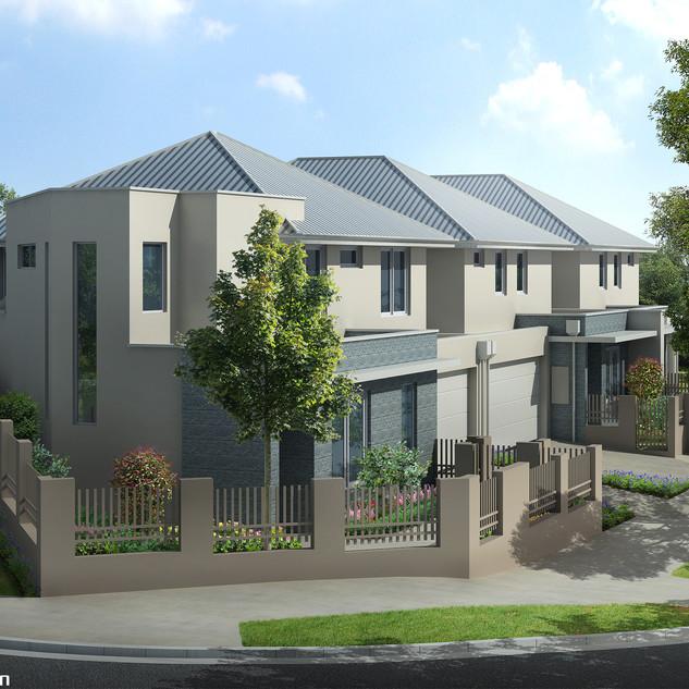 3D External Render for a 4 townhouse development - Leederville WA