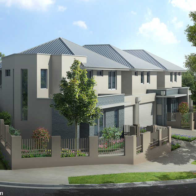 3D External Render for a 4 townhouse development - Leederville WA