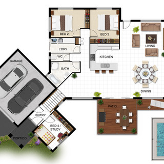 2D Colour Floor Plan - Hedley Homes - Cairns QLD