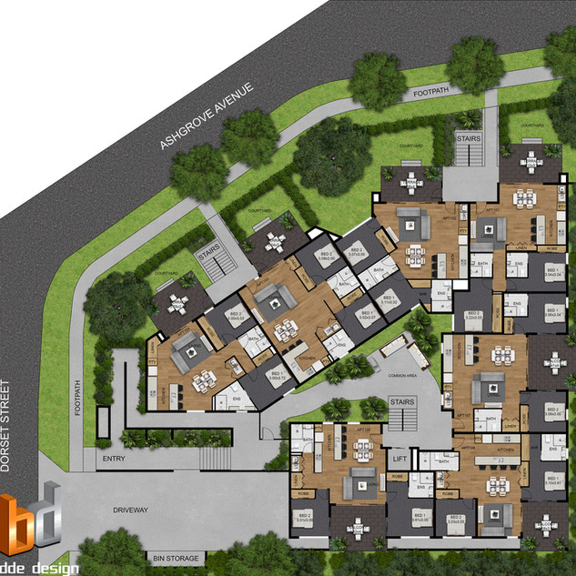 2D colour site plan for a development project - Ashgrove QLD
