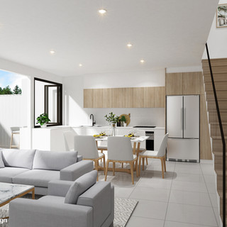 3D living / kitchen render for a development project - Maroochydore QLD