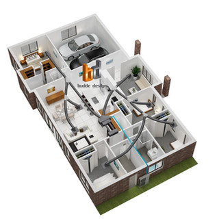 3D Floor plan for Daikin showcasing their ducted system on a house floor plan