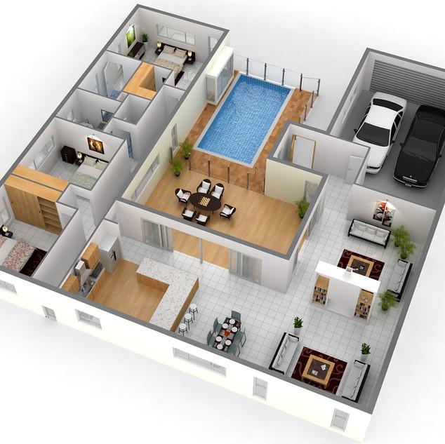 3D Floor plan - Fig Tree Pocket QLD