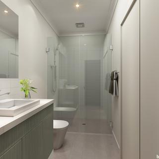 3D internal bathroom render Cedar Cove - Perth WA by Budde Design