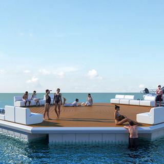 3D Render floating pontoon platform for Superior Jetties Gold Coast QLD