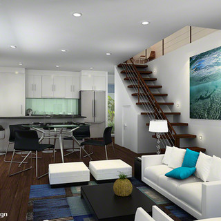 3D internal living room render for a 4 townhouse development - Toukley NSW