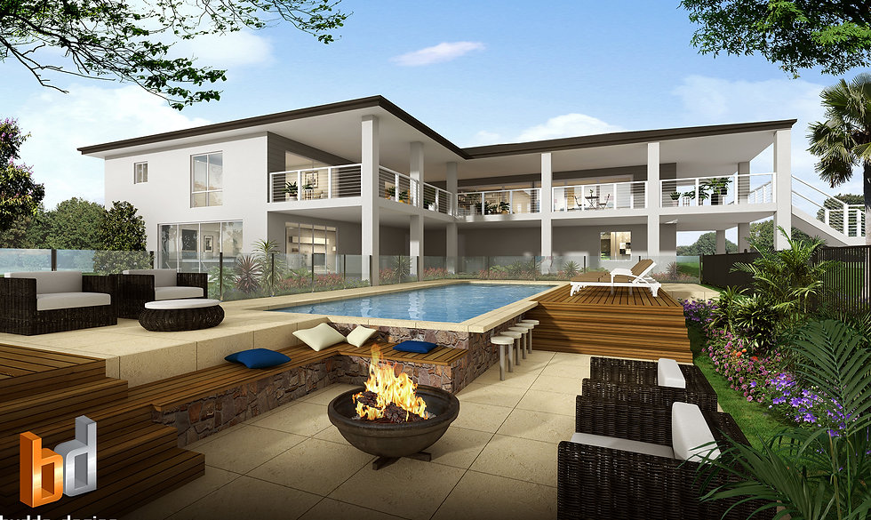 3D Artist Impression Sunshine Coast, outdoor living and pool area - Yandina QLD