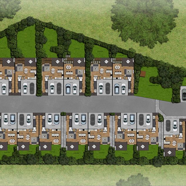 2D colour site plan / floor plan for a 22 townhouse development - Brisbane QLD
