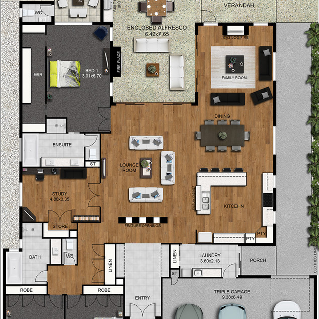 2D Colour floor plan and 2d colour site plan - image used for realestate marketing - Victoria