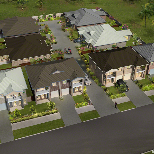 3D external birds eye view for a development project - Schofields NSW