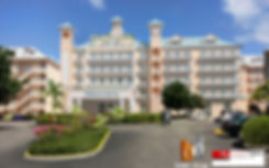 3D Artist Impression Grand Cayman Islands Morritt's Hotel. This Artist Impression is a Photo Montage the 3D model was inserted into an existing photo to showcase the new Hotel in its surroundings.