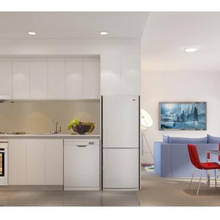 Cross Section 3D kitchen/living render by Budde Design