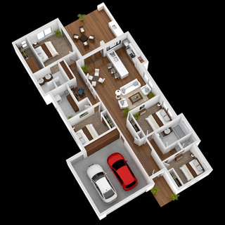 3D Floor plan for a display home, Images used to market a new estate - Bribie Island QLD