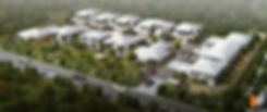 Birds ey view artist impression development project Omeau Hills QLD Australia
