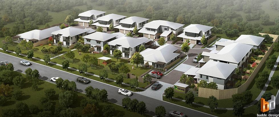 Birds ey view artist impression development project Omeau Hills QLD Australia