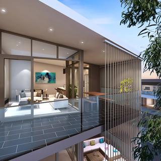 3D external / internal balcony render for a multi unit development
