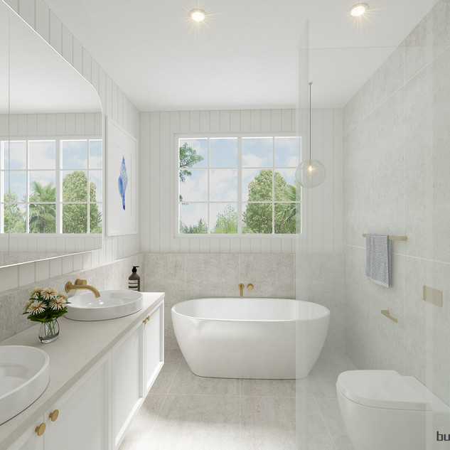 3D Hamptons style Bathroom render Burleigh Waters, Gold Coast QLD