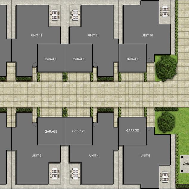 2D colour site plan for a 14 unit development