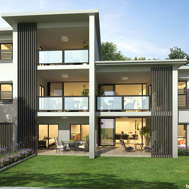 3D external Render - Development project - exclusive use courtyard prospective by Budde Design