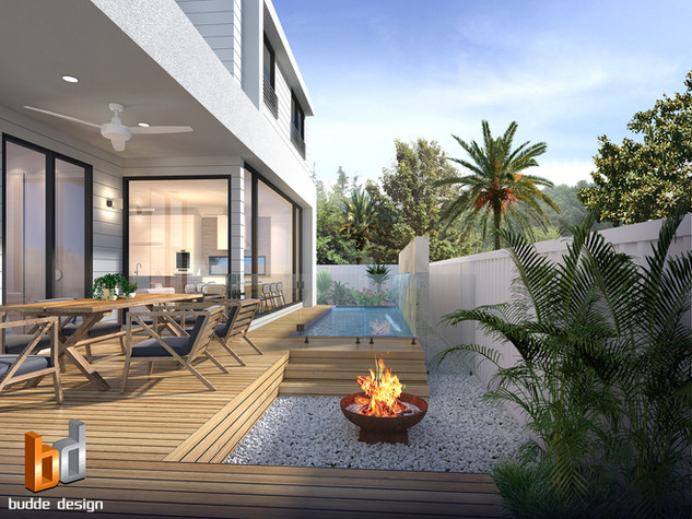 3D Render Pool and outdoor entertaining area, Residence 1, Burleigh Waters, Gold Coast QLD