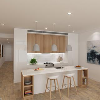 3D Internal Kitchen render for Raine and Horne - Narrabeen NSW