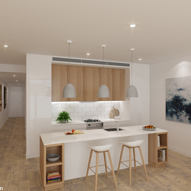 3D Internal Kitchen render for Raine and Horne - Narrabeen NSW