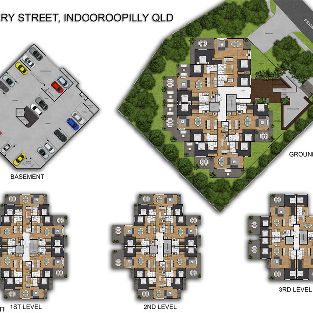2D colour floor plan and site plan for a development project - Indooroopilly, Brisbane QLD