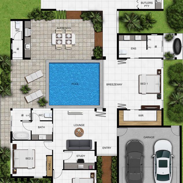 2D colour floor plan for a building company Palm Cove QLD