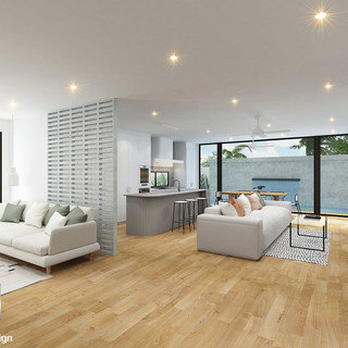 3D Rendering Residence 1 kitchen/living/dining/pool Burleigh Waters, Gold Coast QLD