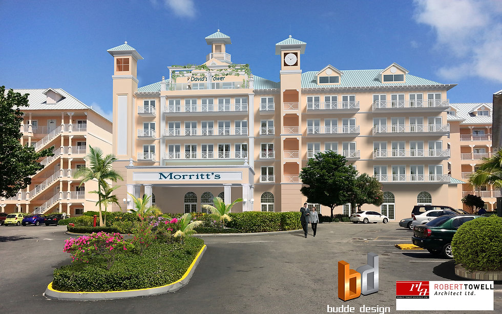 3D Render Grand Cayman Islands Morritt's Hotel. This Artist Impression is a Photo Montage the 3D model was inserted into an existing photo to showcase the new Hotel in its surroundings.
