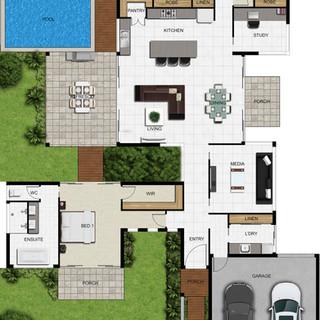 2D colour floor plan for a building company
