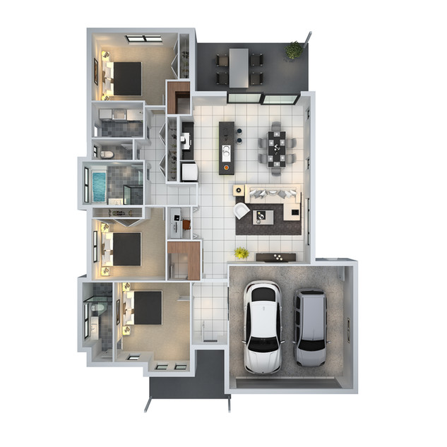 3D floor plan unit3 for a building company - Mudgee NSW