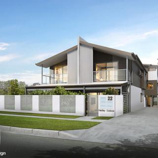 3D Rendering street front 4 townhouse development Hedley Ave, Nundah QLD