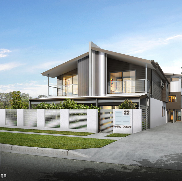 3D Rendering street front 4 townhouse development Hedley Ave, Nundah QLD
