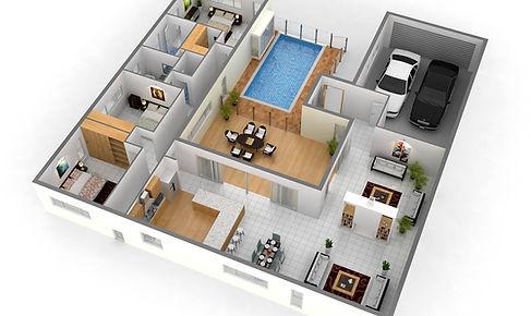 3D floor plan residential marketng floor plan