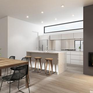 3D internal kitchen / living room render