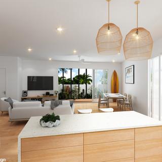 3D internal living room render, townhouse development, Mermaid Waters, Gold Coast QLD