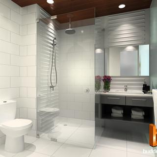 3D internal render for a hotel bathroom by Budde Design