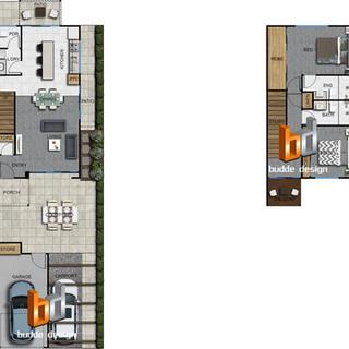 2D colour floor plan 3 bedroom 2 level townhouse, unit, house part of a 29 unit development - Ormeau Oaks, Ormeau Hills QLD