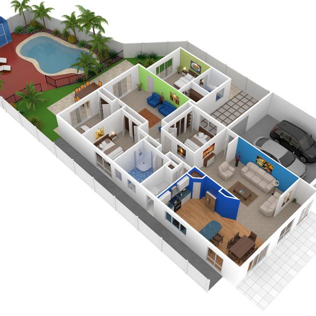 3D floor plan for real estate marketing - LJ Hooker Bateau Bay NSW