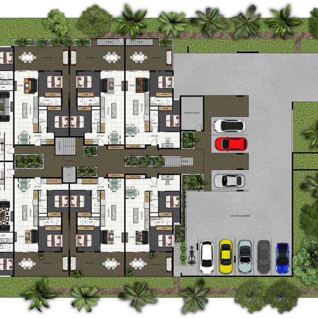 1st level 2d colour floor plan for a 4 level multi unit development - Mt Gravatt, Brisbane QLD